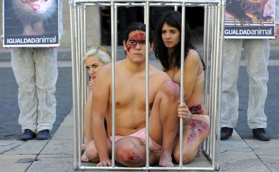 美女帅哥裸体自囚笼中
