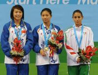 [高清组图]大运跳水:何姿获得女子三米板金牌