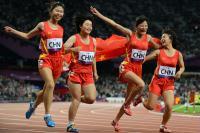 [高清组图]女子4X100米接力T35/T38-中国队夺银